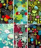 Reeks kaarten met vogels en bloemen. vector illustratie