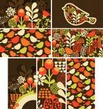 Reeks kaarten met vogels en bloemen. stock illustratie