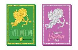 Reeks kaarten van de de daggroet van Valentine ` s Gouden en zilveren cupido's Vector graphhics vector illustratie