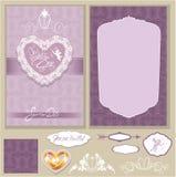 Reeks kaarten van de Huwelijksuitnodiging met bloemenelementen stock illustratie
