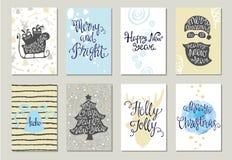 Reeks kaarten van de Kerstmisgroet royalty-vrije illustratie