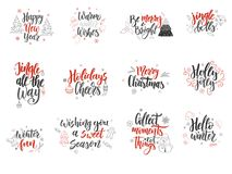 Reeks kaarten van de Kerstmisgroet Hand getrokken ontwerpelementen Vectorkalligrafieontwerp Stock Foto's