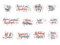 Reeks kaarten van de Kerstmisgroet Hand getrokken ontwerpelementen Vectorkalligrafieontwerp Royalty-vrije Stock Foto's