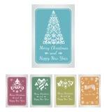 Reeks kaarten van de Kerstmisgroet met decoratieve elementen Stock Foto's