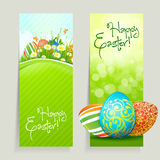Reeks Kaarten van Pasen met Eieren Stock Afbeeldingen
