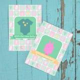 Reeks kaarten voor babydouche of verjaardagspartij Stock Foto's