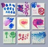 Reeks kaarten voor creatieve geschilderde ontwerphand Geïsoleerdee vectorillustratie Royalty-vrije Stock Fotografie