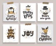 Reeks kaarten voor nieuwe jaar en Kerstmis Stock Fotografie