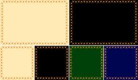 Reeks kaders van geschilderd ornament op een verschillende kleurenachtergrond Stock Fotografie