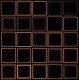 Reeks kaders van geschilderd ornament op een zwarte achtergrond Royalty-vrije Stock Afbeeldingen