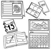 Reeks kalenders - hand-drawn illustratie Stock Fotografie