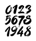 Reeks kalligrafische acryl of inktaantallen ABC voor uw ontwerp, borstel het van letters voorzien Royalty-vrije Stock Fotografie