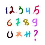 Reeks kalligrafische acryl of inktaantallen ABC voor uw ontwerp, borstel het van letters voorzien Stock Foto