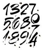 Reeks kalligrafische acryl of inktaantallen ABC voor uw ontwerp, borstel het van letters voorzien op een witte achtergrond met vl Royalty-vrije Stock Fotografie