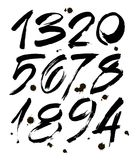 Reeks kalligrafische acryl of inktaantallen ABC voor uw ontwerp, borstel het van letters voorzien op een witte achtergrond met vl Stock Fotografie