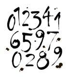 Reeks kalligrafische acryl of inktaantallen ABC voor uw ontwerp, borstel het van letters voorzien op een witte achtergrond met vl Stock Foto