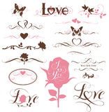 Reeks kalligrafische elementen, decoratieve harten en bloemen Royalty-vrije Stock Afbeelding