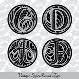 Reeks kalligrafische hoofdletters met samenvatting pattrn in ronde vormen - c, B, D, a Royalty-vrije Stock Foto's