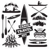 Reeks kano en kajakontwerpelementen Stock Fotografie