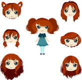 Reeks kapsels van het animemeisje Royalty-vrije Stock Afbeelding