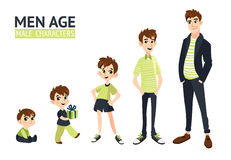 Reeks karakters in beeldverhaal vlakke stijl Stock Foto