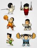 Reeks karakters belast met diverse sporten Stock Afbeelding