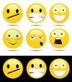 Reeks karakters van gele emoties Stock Fotografie