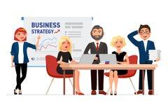 Reeks karakters van het bedrijfsmensenbeeldverhaal Collega's op de vergadering, bedrijfsvrouw die op de witte raad richten met vector illustratie