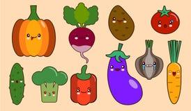 Reeks karakters van het gezichtskawaii van groentensmiley peper, tomaat, knoflook, ui, Spaanse peper, aardappel, komkommer Vlak O royalty-vrije illustratie