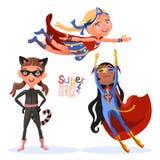 Reeks karakters van superhero super meisjes van de leuke, beeldverhaalstijl Stock Foto
