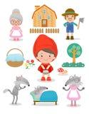 Reeks karakters van Weinig Rood het Berijden Kapsprookje op witte achtergrond, Vectorillustratie stock illustratie