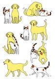 Reeks kat en hondparen vector illustratie