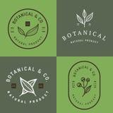 Reeks kentekens, banner, etiketten en emblemen voor botanisch natuurlijk product, winkel Bladembleem, bloemembleem Royalty-vrije Stock Afbeelding