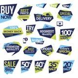 Reeks kentekens en etiketten voor verkoop Royalty-vrije Stock Afbeelding