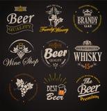 Reeks kentekens en etikettenelementen voor alcohol Royalty-vrije Stock Foto's