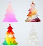 Reeks Kerstbomen. Geometrische vakantiedecorati Stock Foto's