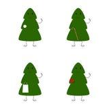 Reeks Kerstboomkarakters Stock Afbeelding