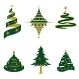 Reeks Kerstboomvectoren en Pictogrammen Stock Afbeeldingen
