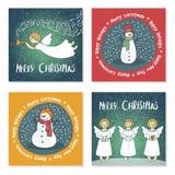 Reeks Kerstkaarten met engelen en sneeuwmannen stock illustratie