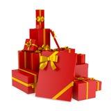 Reeks Kerstmis en birhday giftdozen/  Stock Foto's