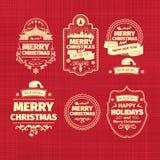 Reeks Kerstmis en Gelukkige etiketten van Nieuwjaarkentekens met schoon modern gestileerd ontwerp Stock Fotografie