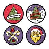 Reeks Kerstmis en Nieuwe het hele jaar door emblemen Royalty-vrije Stock Afbeeldingen