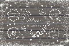 Reeks Kerstmis en nieuwe jaar grafische elementen Stock Foto's