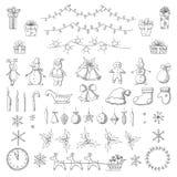Reeks Kerstmis en nieuwe jaarelementen in schetsstijl Royalty-vrije Stock Afbeeldingen