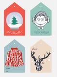 Reeks Kerstmis en Nieuwe jaarmarkeringen Royalty-vrije Stock Afbeeldingen