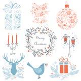 Reeks Kerstmis en Nieuwjaar grafische elementenpictogrammen voor uw ontwerp Kerstmispictogrammen, tekens, symbolen Herten, vogel royalty-vrije illustratie