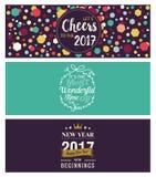 Reeks Kerstmis en Nieuwjaar sociale media banners Stock Foto