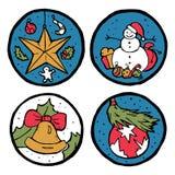 Reeks Kerstmis en Nieuwjaaremblemen Stock Foto