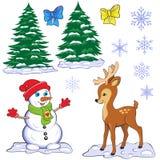 Reeks Kerstmis en Nieuwjaarkarakters en symbolen Royalty-vrije Stock Fotografie