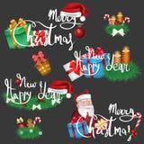 Reeks Kerstmis en Nieuwjaarpictogrammen en wensen vector illustratie